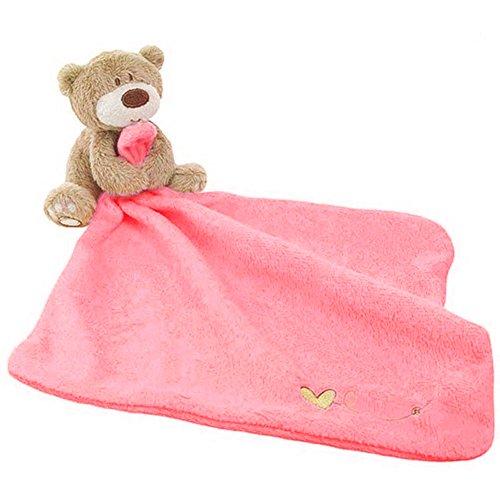 coperta di sicurezza per bambini, soffice copertina con animali in peluche imbottiti, copertina di conforto con orsetto per bebè 2