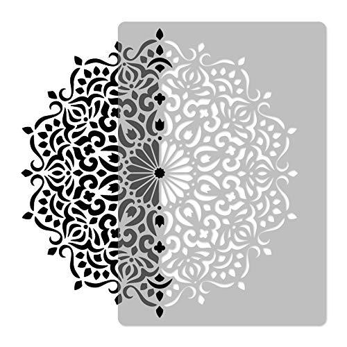 Stencil da parete, mandala #3, riutilizzabile, in plastica, diametro di 59 cm, geometrico, fiore