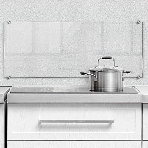 Paraschizzi da cucina in vetro di sicurezza trasparente per fornello e lavello con sistema di fissaggio
