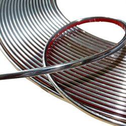 Aerzetix – Banda fasce bacchetta nastro adesivo 6 mm 4.5 metri colore cromo nichel argento .