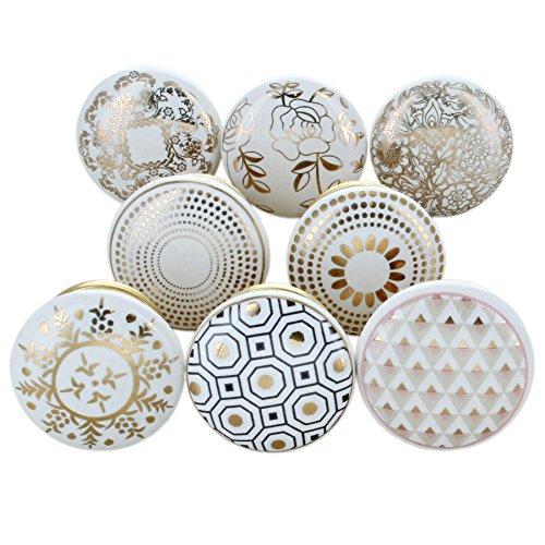 G Decor, set di 8 pomelli rotondi in ceramica, di colore dorato, con finitura screpolata, stile vintage e shabby chic, adatti come maniglie per cassetti