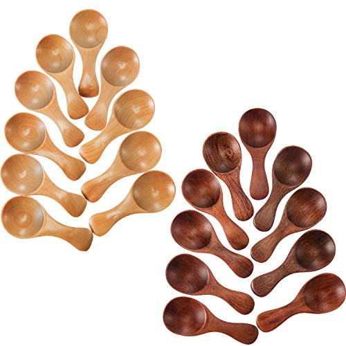 20pezzi piccoli cucchiai in legno mini condimenti Sugar condimento sale Honey cucchiaino da caffè tè Jam senape gelato cucchiai in legno