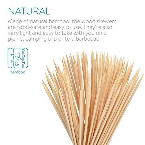 Navaris Spiedini Legno di bambù – Set x100 Bastoncini 40 cm x 4mm – Stecchini Lunghi per Grigliate Barbecue Arrosto Zucchero Filato Marshmallow Feste 5
