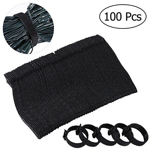 OUNONA 100 pezzi Velcro adesivo Fascette Fermacavi in Velcro,6 pollici 2