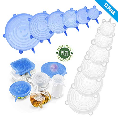 Yimidon Coperchi in Silicone Alimentare Estensibile, 12 Pack Coperchio Silicone Stretch Universale Riutilizzabili per Ciotole, Pentole, Tazze, Piatti per Mantenere Alimenti Fresco – BPA Free