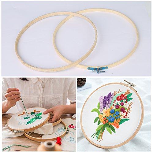 QH-Shop Cerchio da Ricamo, bambù Ricamo Kit Telai Assortiti Rotondi per DIY Arte Mestiere Maneggevole Cucire 5packs 3