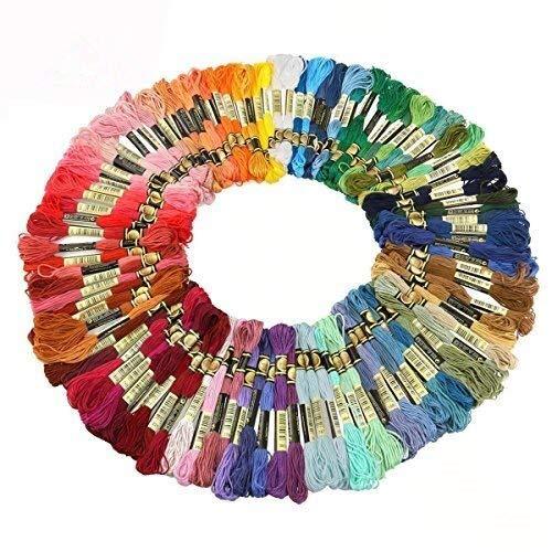 Cisixin 100 Matassine 8m Cotone Fili da Ricamo di Assortiti Colori Sewing Threads