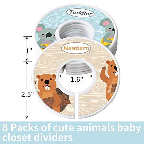 Divisori per vestiti per guardaroba per bambini, set di 8 Nursery Divisori per vestiti per guardaroba per bambini, Divisori per neonati Accessori per taglie Organizer Divisori Ragazza – Animali 7