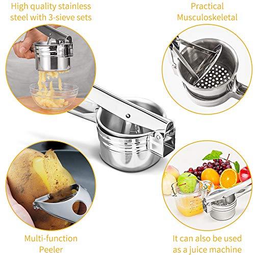 Schiacciapatate Manuale Potato Ricer in Acciaio Inox Pressa per Purè di Patate Liscie con 3 colini sostituibili per Marmellata, Verdure E Frutta 4
