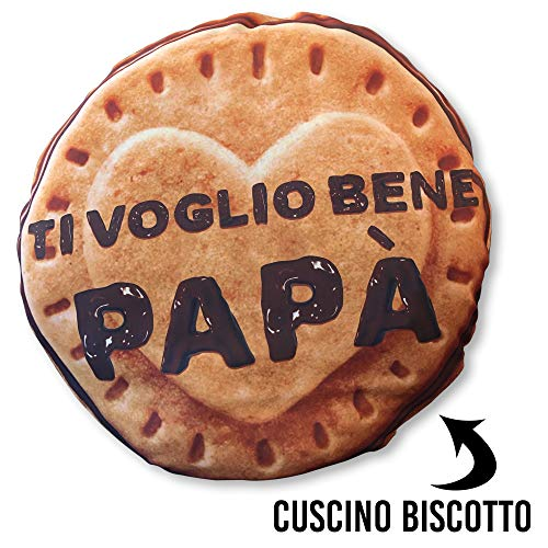 My Digital Print *Vincitore novità 2020* Cuscino papà a Forma di Biscotto, Ti Voglio Bene papà, Rotondo 60 x 60cm, Idea Regalo per la Festa del papà, Biscuits