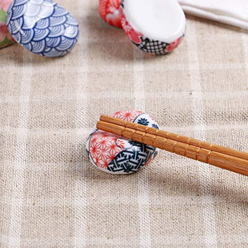 BESTONZON 5 pezzi bacchette di ceramica resto in stile giapponese bacchette Sakura cuscino cucchiaio cucchiaio forchetta coltello (modello casuale) 8
