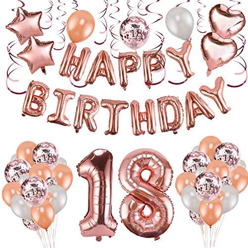 Palloncini e festoni per compleanni 18 anni ragazza rosa e oro Howaf