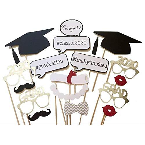 Losuya 2020 Graduazione Photo Booth Oggetti di Scena 17 Pezzi Occhiali Baffi Labbra Rosse Papillon per la Decorazione del Partito Grad 2