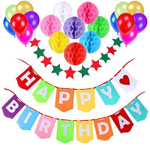 Decorazione Festa di Compleanno, Gyvazla Striscioni di Buon Compleanno Happy Birthday, 12 Colorato Party Palloncini, 8 Pacchetti da nido d'ape, 1 Decorazione stella per decorare di Party 2