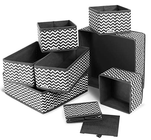 Set di 8 Organizer Armadio divisori Scatola Pieghevole Pieghevole in Tessuto cassetto Organizzatori per cassetti Biancheria Intima, Reggiseni, Calze