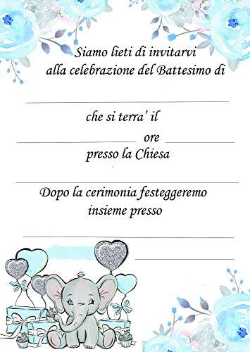 Giomel Inviti Partecipazioni Battesimo Bambino Celesti Maschietto 10,5×14,8 cm 30 Pezzi