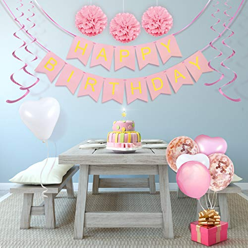 Decorazioni per Feste di Compleanno Bambina – 43 Pz – Include Striscione Happy Birthday, Pompon di Carta, Palloncini, Palloncini a Coriandoli, Decorazioni a Spirale – Set Rosa e Bianco per Bimba 4