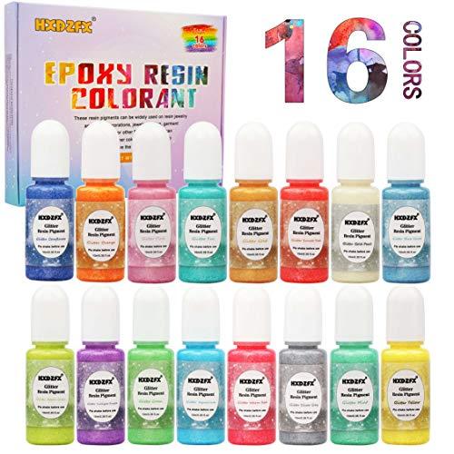Coloranti per Resina Epossidica – 16 colori Liquido glitterato Perla colorante a pigmenti 0,35 oz / 10 ml, Colorante luccicante di resina liquida colorante per gioielli in resina Artigianato Fai da te