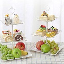 Alzatina a 3 piani, piatto da frutta, supporto per dolci, ciotola per biscotti, muffin, frutta, per feste, compleanni, matrimoni. 2
