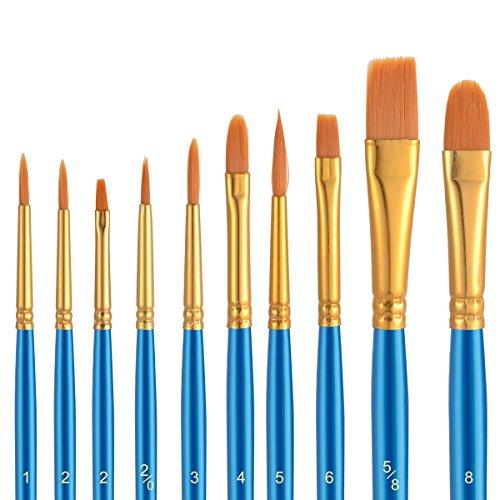 10Pennelli, 2tavolozza, Premium Nylon pennelli per acquerello, acrilico e olio ecc perfetto set di pennelli per principianti, per bambini, ARTISTA e amante della Pittura Pittura Pennello 4