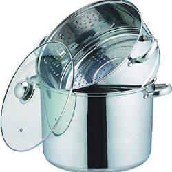 Kamberg 0008073 – Pentola a vapore 3 in 1, diametro 28 cm, 12 litri, in acciaio inossidabile di alta qualità, coperchio in vetro, per tutti i piani cottura, induzione compresa