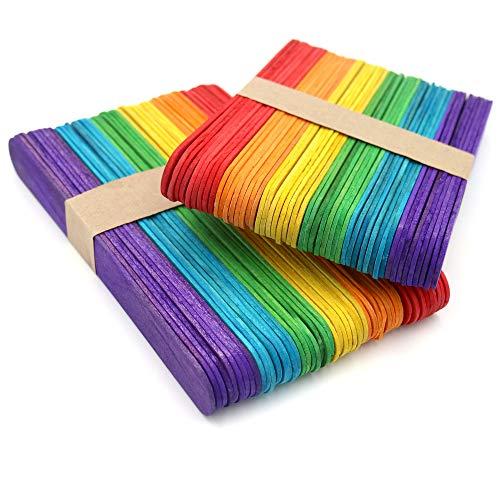 KINGLAKE 100 Pezzi 15×2 cm Bastoncini Artigianali in Legno Colorati Jumbo, Grandi Bastoncini di Legno per L'Arte Progetto Creativo Fai-da-Te