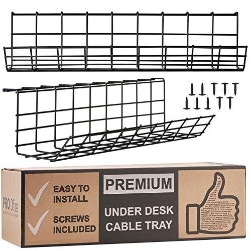 Portacavi da scrivania – organizer per riordinare i cavi. Portacavi in filo metallico per ufficio e casa (Nero – Set da 2x 43cm)