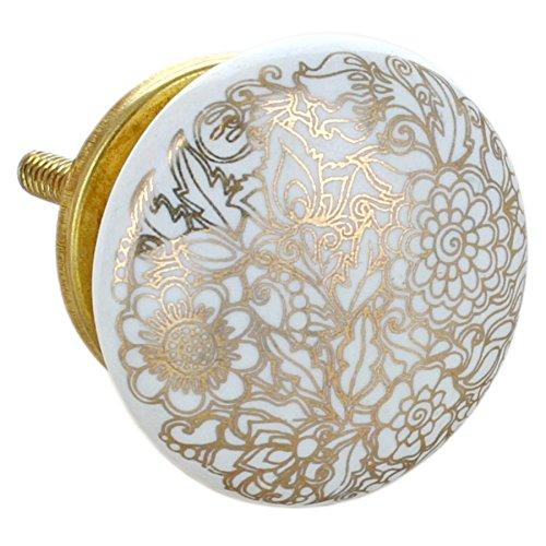 G Decor, set di 8 pomelli rotondi in ceramica, di colore dorato, con finitura screpolata, stile vintage e shabby chic, adatti come maniglie per cassetti 10