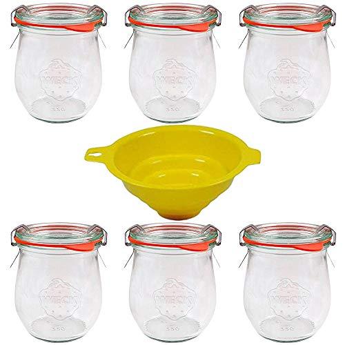 Viva Haushaltswaren, 6 vasetti a Tulipano, 220 ml, ottimi per antipasti e Dessert, incl. Imbuto Giallo con Blocco