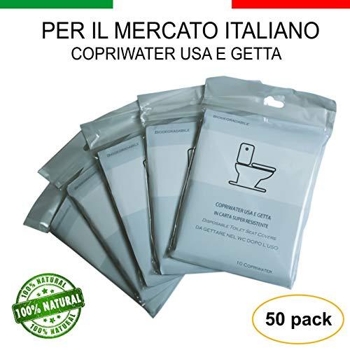 Copriwater Usa e Getta Bio in Carta Super Resistente Coprisedili WC Monouso Bambini Adulti Ecologico Antibatterico Universale Biodegradabile (5 Pack x 10 Pezzi)