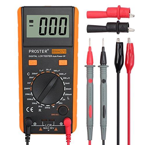 Proster LCR Meter LCD Tester Capacità Induttanza Resistenza Misuratore di Autoscarica con Display di Sovraoscillazione – Arancione