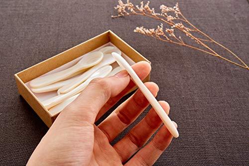 DUEBEL Set di 6 Cucchiai per Caviale MOP in Madreperla Bianca per Caviale, Uova, Gelato, caffè (Bianca, 11 x 2,5cm) 7
