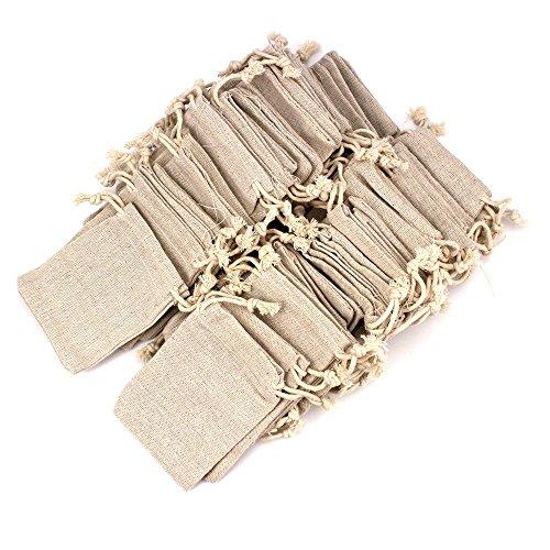 RUBY-50pcs sacchetti di gioielli sacchetti di tela con coulisse riutilizzabile sacchetto del regalo iuta per la festa nuziale 6