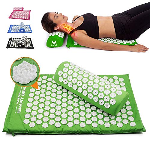Ze Yoga Lotus Spike Acupressure Mat Pillow Set Back Body Massager Acupuncture Cushion Mat Relieve Stress Tension Pain w/Carry Bag.
