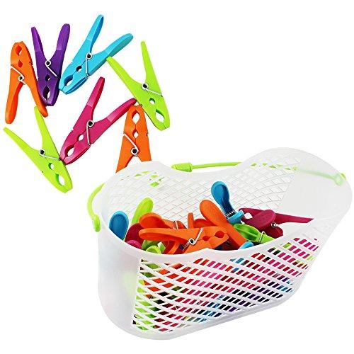 COM-FOUR® 30x Mollette in pratico cestino con manico (Set 0031 pezzi 1 – cesto + staffe)