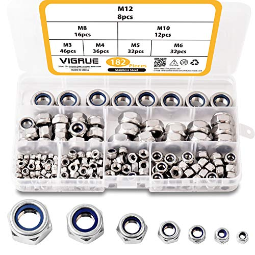182Pz assortimento di dadi in nylon, dadi Serratura esagonale autobloccante anti-allentamento in acciaio inox 304 Dimensioni M3 M4 M5 M6 M8 M10 M12 2