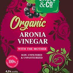CHEFS & CO Aceto di Aronia biologico | con madre dell'aceto | bottiglia di vetro – 500ml | spremuto puro a freddo | non raffinato | non filtrato | 4.5% di acidità