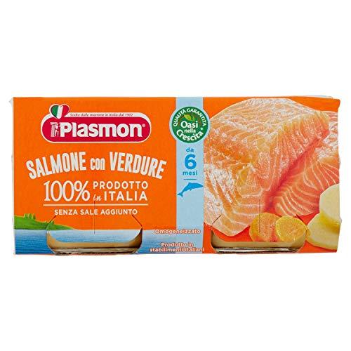 Plasmon Alimento per l'Infanzia Oasi nella Crescita con Salmone e Verdure – 2 vasetti da 80 gr