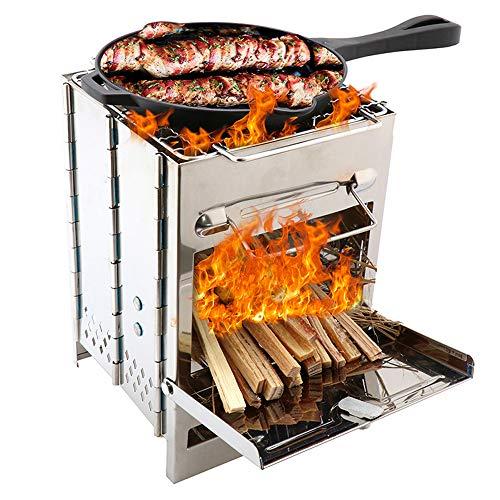 Lixada Fornello da Campeggio Pieghevole in Acciaio Inox Backpacking Stufa a Legna a Legna Mini BBQ Grill con Borsa per Zaino in Spalla da Campeggio