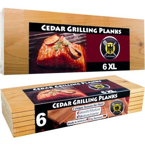 6 Piastre XL LUNGHEZZA INTERA  in legno di cedro per griglia – confezione da 6