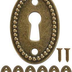 FUXXER® – Set di 6 targhe ovali per chiavi, in stile vintage, con viti, 37 x 24 mm