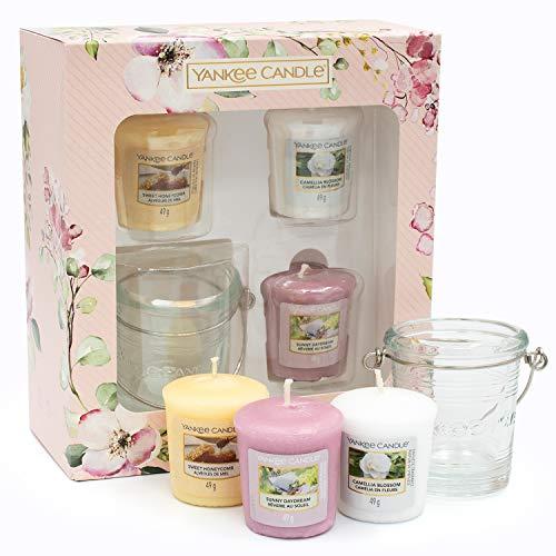 YANKEE CANDLE Collezione Garden Hideaway Set Regalo 3 Profumate e 1 Supporto per Candele Votive, Bianco