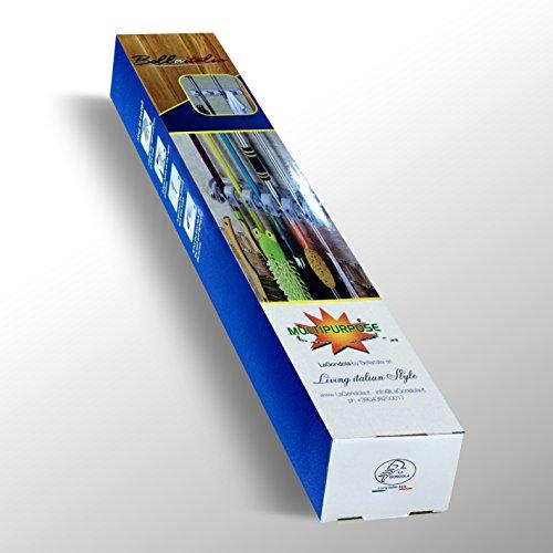 Portascope Da Muro Appendiscopa Portaspazzole – Con 6 Ganci Multifunzione e 5 Morse Consente di Appendere Fino a 11 Attrezzi,  Robusto Salvaspazio 6