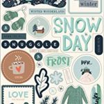 Carta Bella Paper Company CBSMF108022 Snow Much Fun – truciolato 6 x 13 frasi, blu, verde acqua, verde, blu navy, crema, grigio
