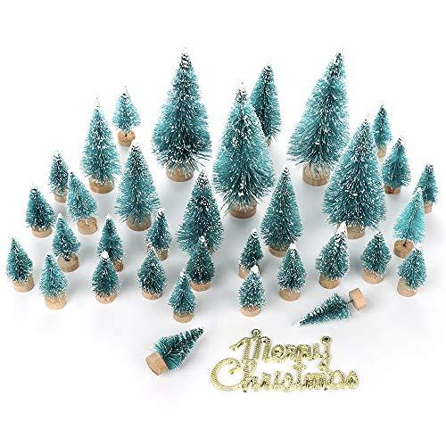 LouisaYork miniatura albero di Natale, albero di Natale mini tavolo, 34PCS, mini sisal Snow Frost alberi micro paesaggio paesaggio per lavoretti natalizi da tavola Decor