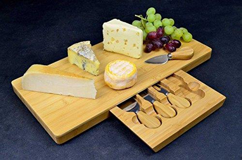 Tagliere per formaggi grande, in bambù, con speciale scomparto integrato per posate 3