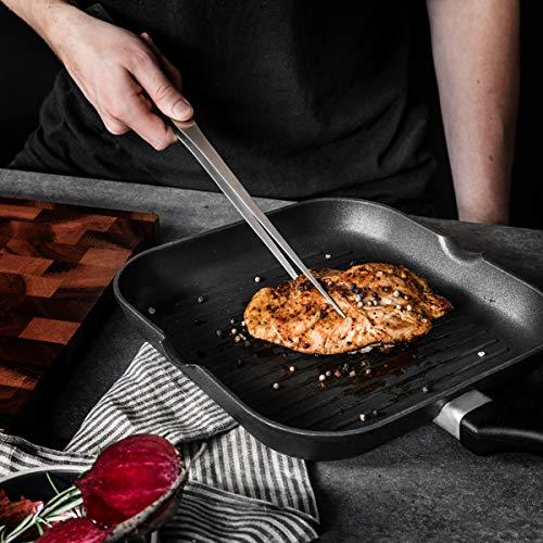 Navaris Pinze da Cucina in Acciaio Inox – 40 cm con Carta da Forno per Barbecue Grill griglia Forno – Pinzette per Alimenti utensile con Manico Lungo 3