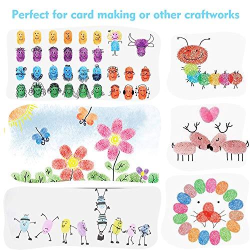 iwobi 15 Colori Tamponi per Timbri Bambini,Tampone di Inchiostro per Carta Artigianale Tessuto,DIY Artistica,Scrapbook,Impronte Digitali 7