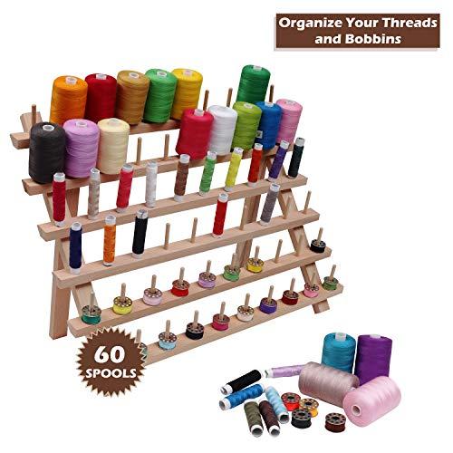 Thread Organizer con Hanging Ganci per Il Cucito Ricamo 60-Rocchetto di Filo Supporto di Legno di Spool Ohomr Rack Filo