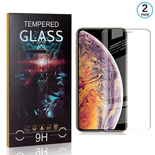 Ramcox 9H Durezza Trasparente Vetro Temperato per Apple iPhone XS Max, Nessuna Bolla, Anti-Impronte, Facile da Pulire, 2 Pezzi 2